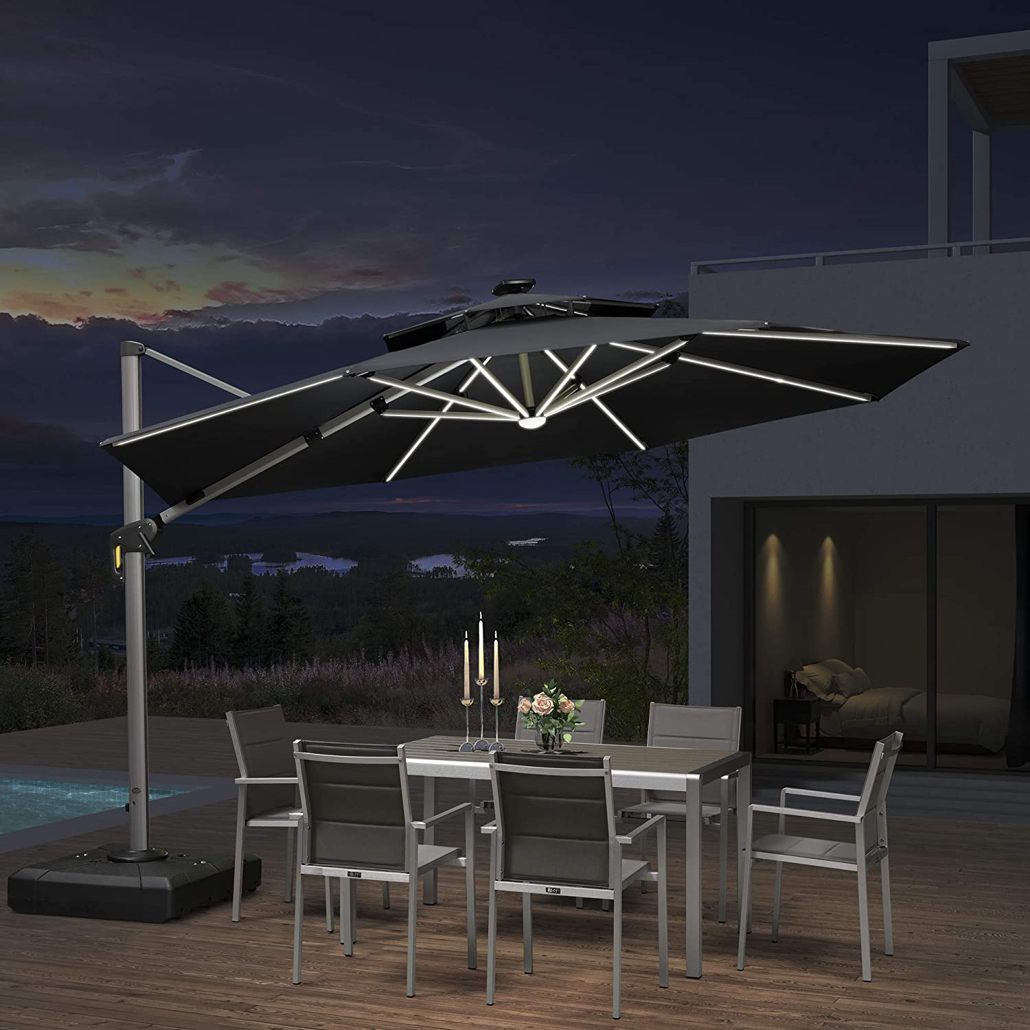PURPLE LEAF 12ft Solar powered LED Patio Umbrella Outdoor Round Umbrella Large Cantilever Umbrella with LED lights Windproof Offset Umbrella Heavy Duty Sun Umbrella for Garden Deck Pool Patio, Grey