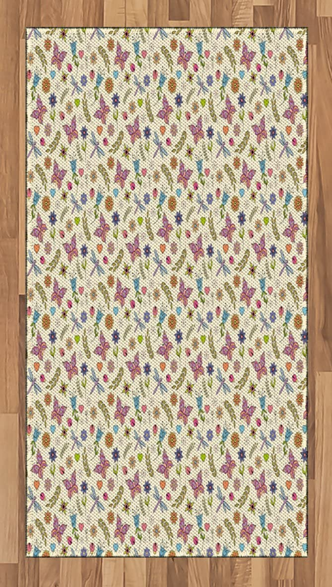 Ambesonne Flowers Area Rug, Pattern with Abstract Colorful Flowers Dragonfly Butterfly Ladybug Doodle Ornaments, Flat Woven Accent Rug for Living Room Bedroom Dining Room, 2.6' x 5', Multicolor