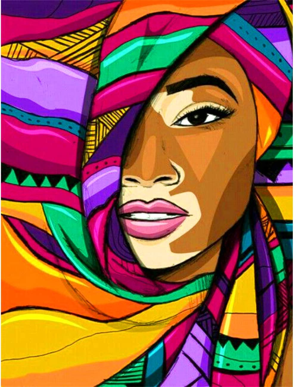5D Diamond Painting Abstract Flower African Woman Face Full Drill by Number Kits, SKRYUIE DIY Rhinestone Pasted Paint with Diamond Set Arts Craft Decorations (12x16inch)