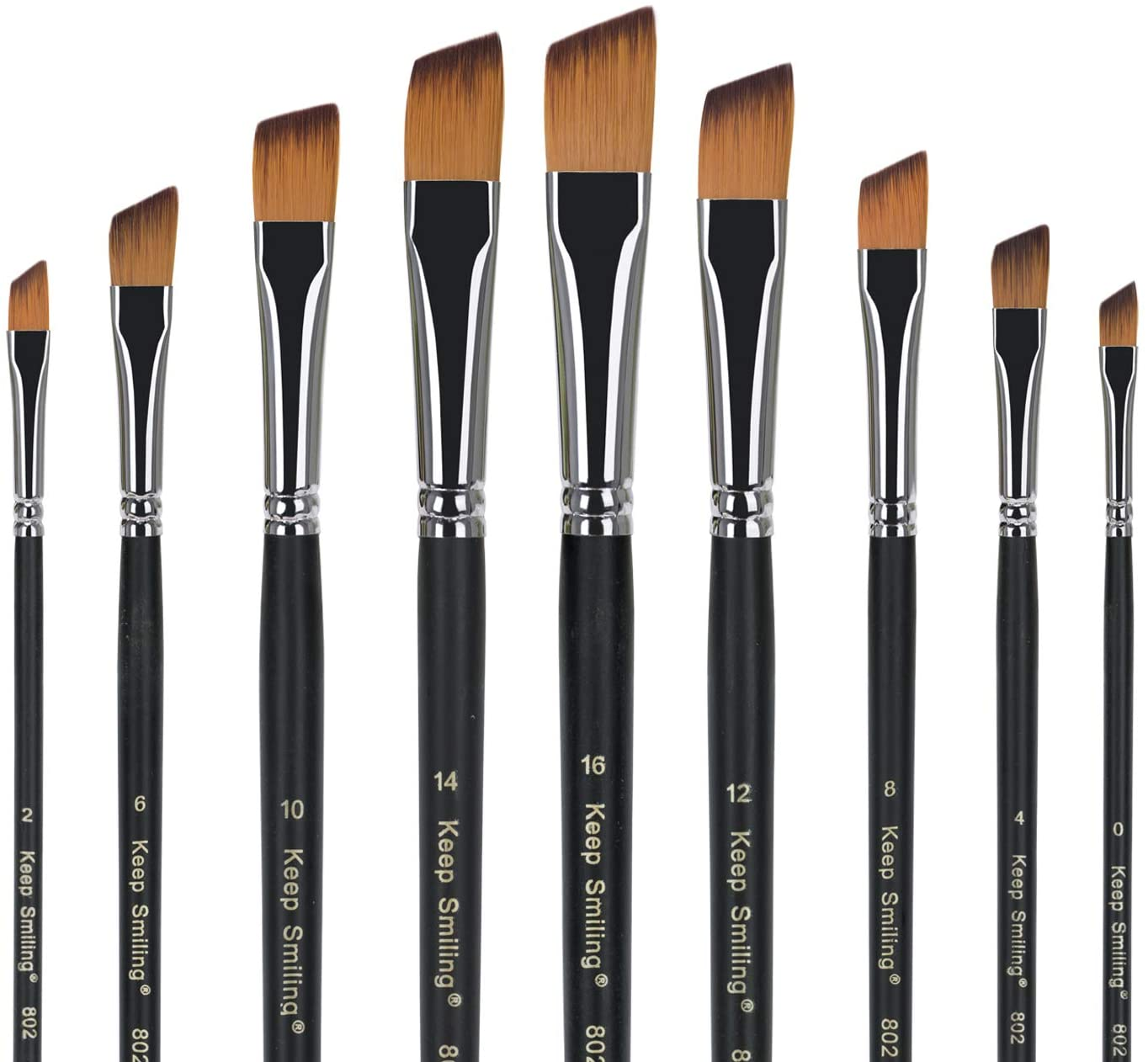 Paint Brush Set Artist Angled Brushes Made of Premium Nylon Hair for Acrylic Painting Watercolor Painting Oil Painting Perfect for Beginners Artists and Children in Different Size (9 Pieces Nylon)