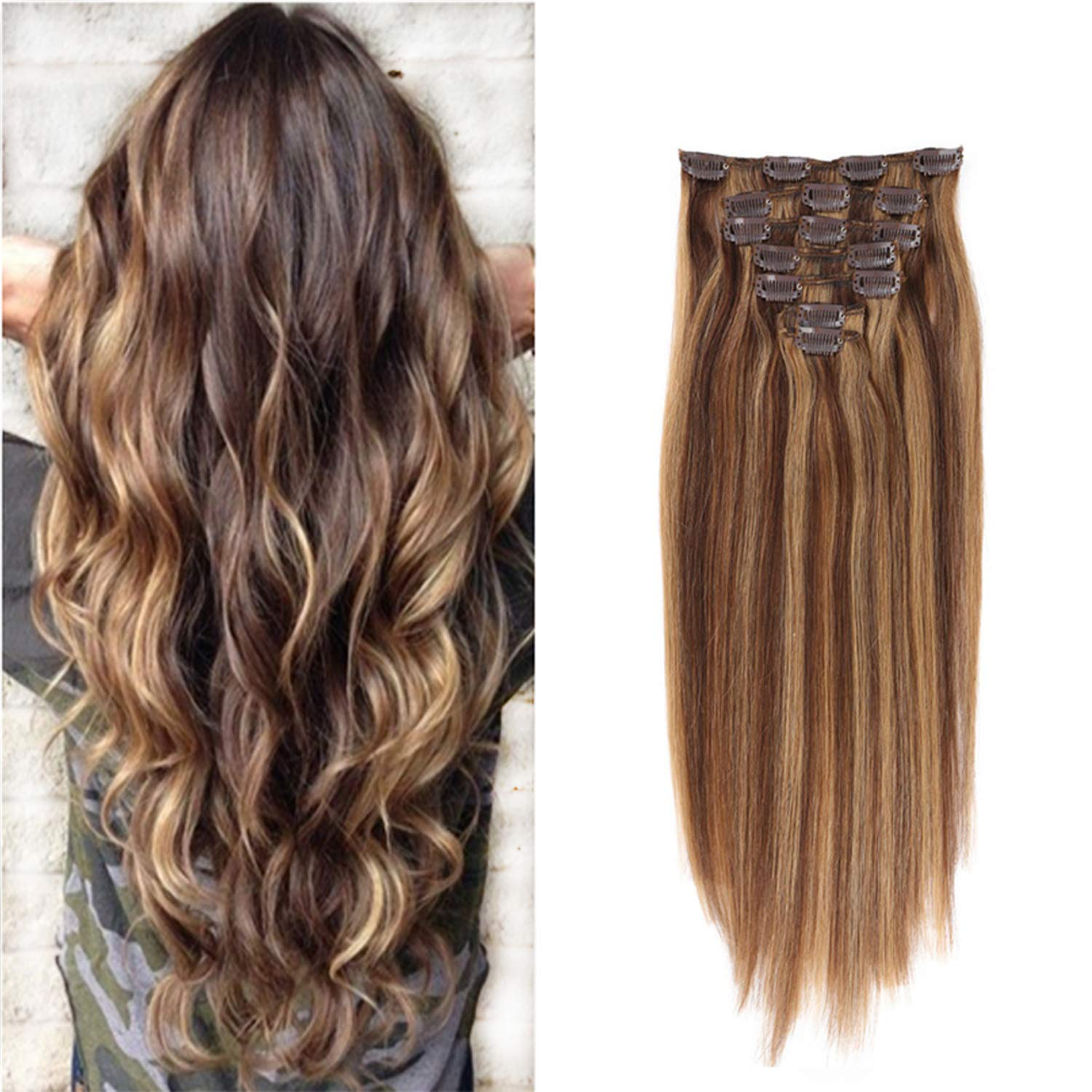 Clip in Human Hair Extensions Silk Straight Human Hair Extensions Clip in 15Inch 70g Piano Color (4/27#)