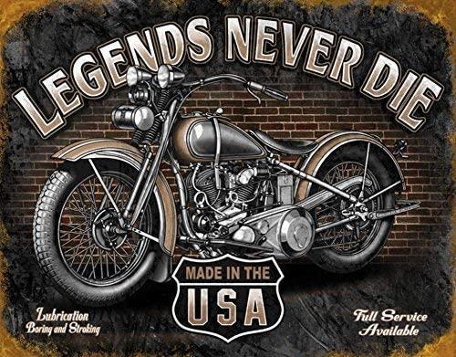 PAGAIXI Wall Decor Tin Signs Desperate Enterprises Legends Never Die Biker Flat New S2177 Metal Sign 8 x 12 Wine Cellar Man Cave Room
