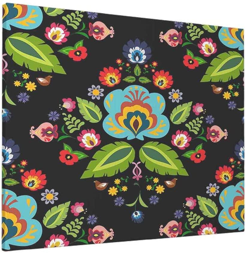 HOSNYE Traditional Floral Wall Art Polish Folk Flower Pattern Canvas Print Picture for Living Room Bedroom Bathroom Office Decor Framed Artwork 12 x 16 inch