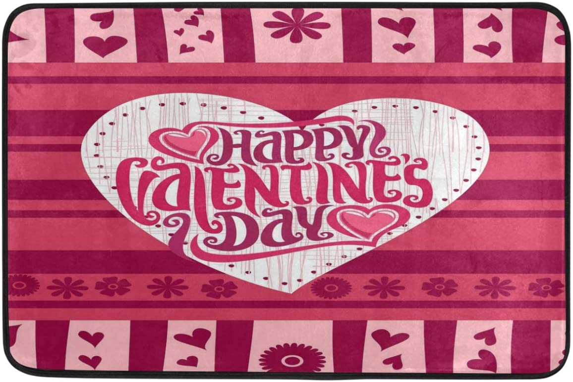 Happy Valentine's Day Decorative Doormat Home Decor Valentine Heart Love Pink Striped Welcome Indoor Outdoor Entrance Bathroom Floor Mats Non Slip Washable Hoilday Pet Food Mat, 24x16 inch