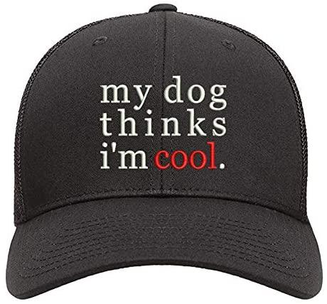 Baseball Caps 2 Pcs Black Truck Cap Novelty Embroidered My Dog Thinks i am Cool Dad Hat Adjustable Snapback