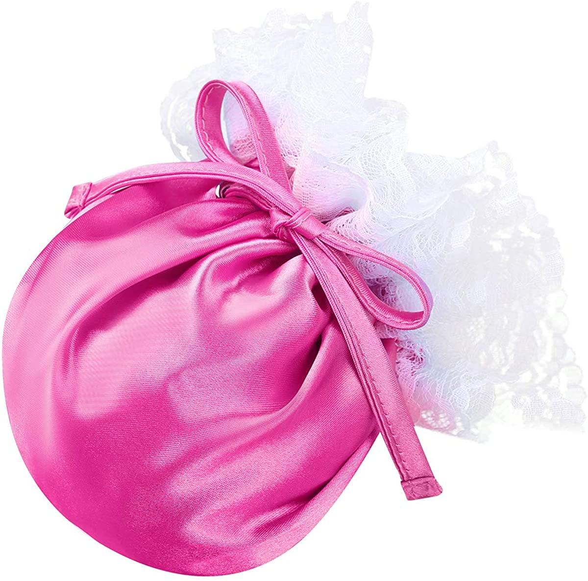 YOOJIA Men's Satin Floral Lace Drawstring Bulge Pouch Sissy Crossdress Panties C-String Briefs Underwear