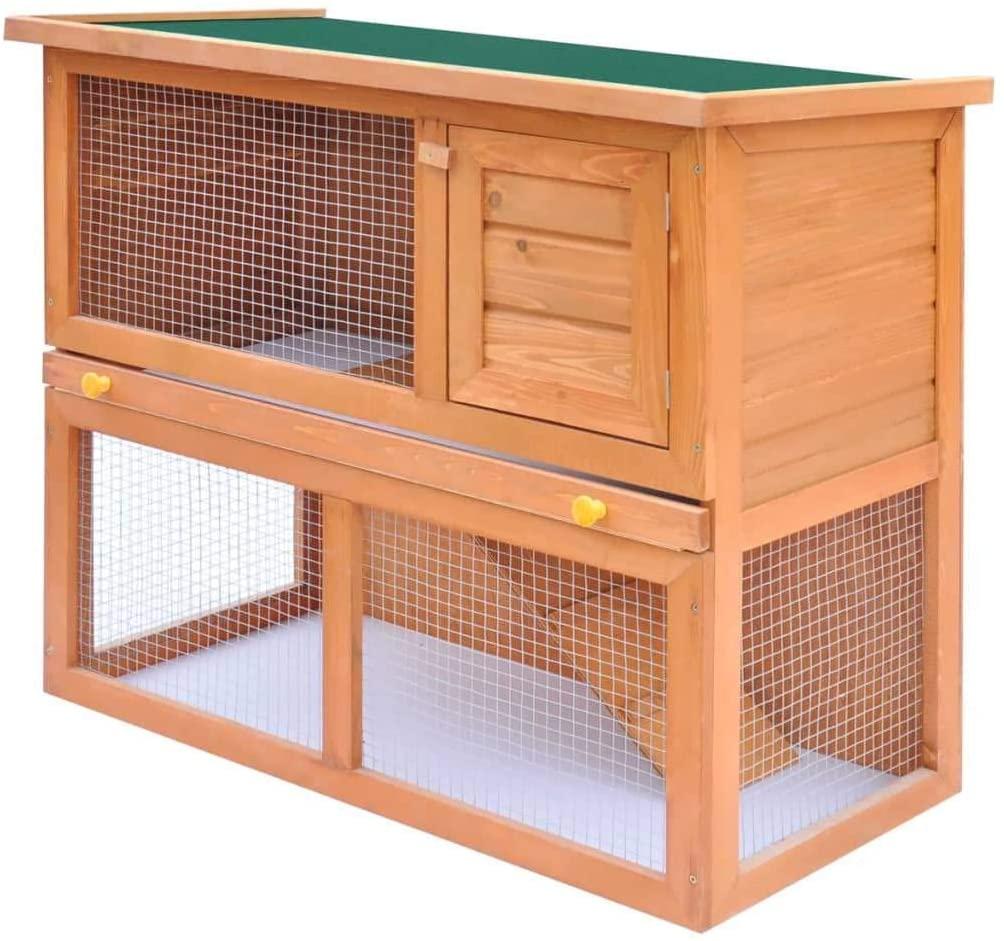 vidaXL Outdoor Rabbit Hutch Small Animal House Pet Cage 1 Door Wood House