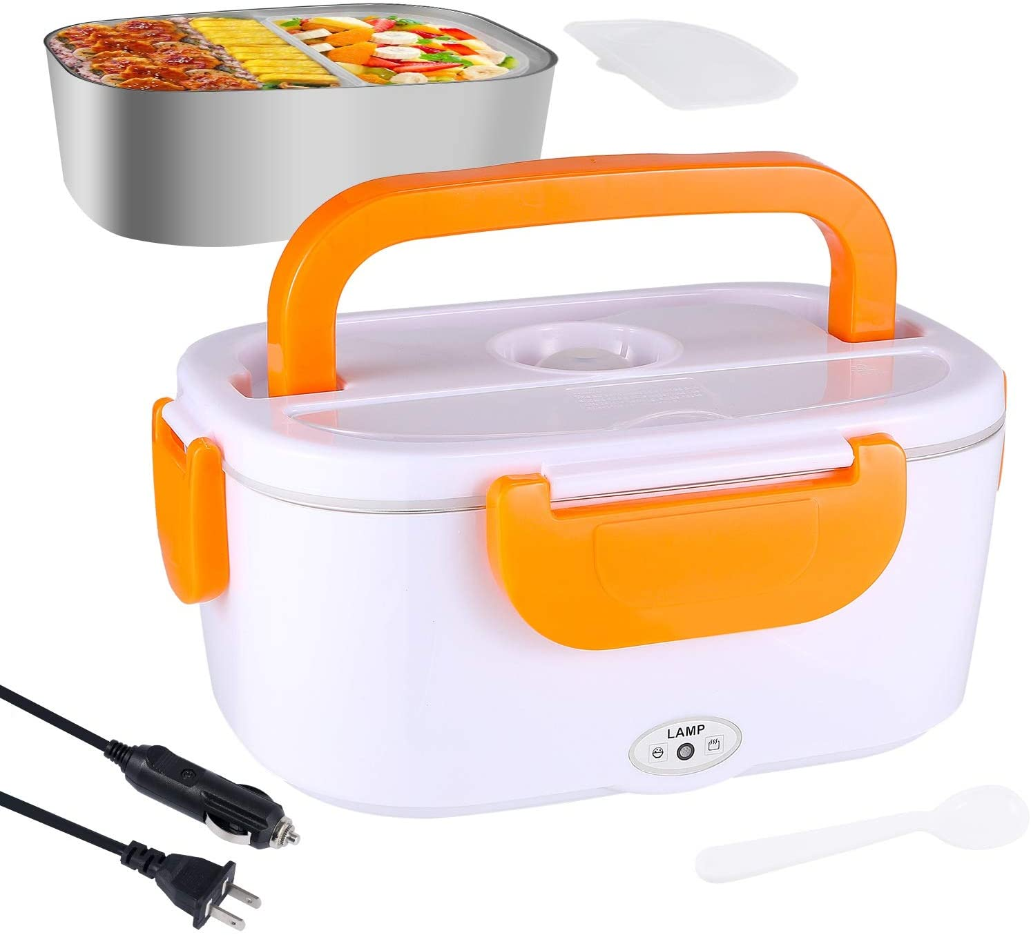 60W Electric Lunch Box Food Heater, 2 in 1 Portable Food Warmer for Car and Home 110V & 12V 1.5L Electric Heating Lunch Box with Removable Stainless Steel Food Container - 100% BPA Free