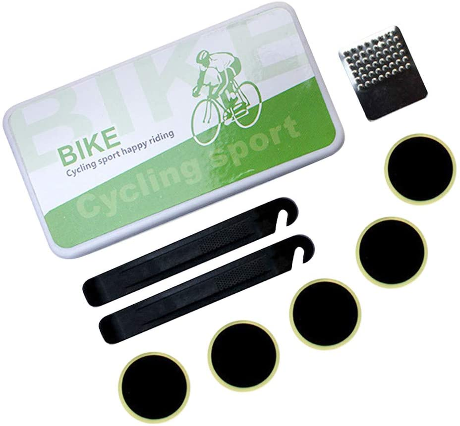 Gowersdee Mountain Bike Bicycle Repair Tools Rubber Patch Glue Lever Set Tire Fix Kit Bicycle Bike Tire Tube Repair Patches Bike Puncture Repair Self-Adhesive Patches Kit