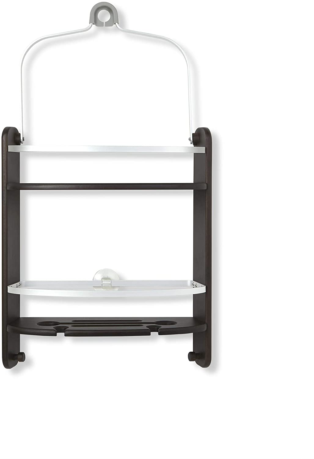 Umbra Aquala Shower Caddy Large, Self-Draining, Integrated Razor Holders, Hooks-Bamboo and Metal, Rust Proof Rails with Two-Tier Storage Shelves and Suction Cup, Walnut