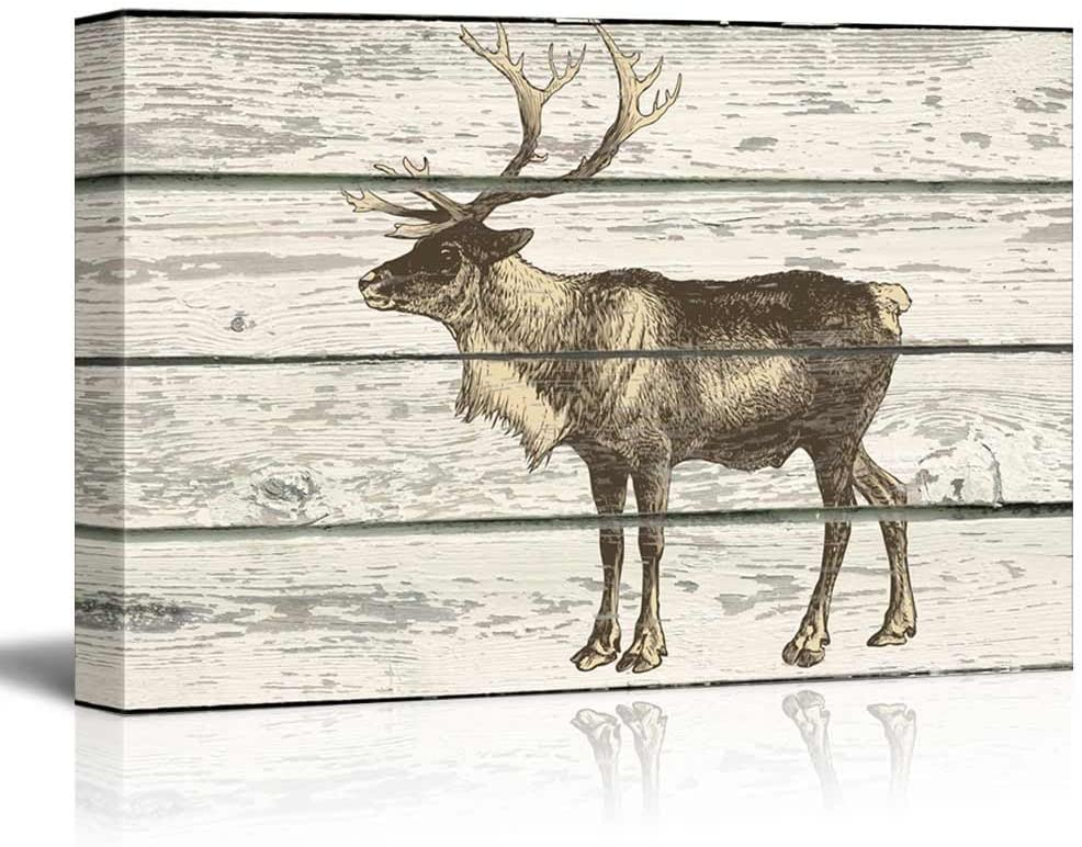 wall26 - A Stand Along Moose on a Rustic Wooden Background - Canvas Art Home Art - 24x36 inches