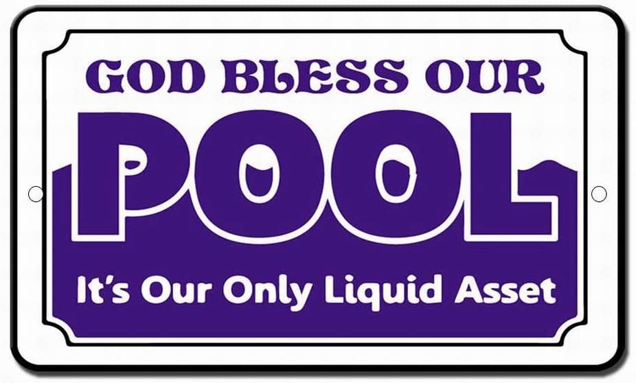 Fsdva Bless Our Pool Navy Safety Sign Tin Sign 12x16