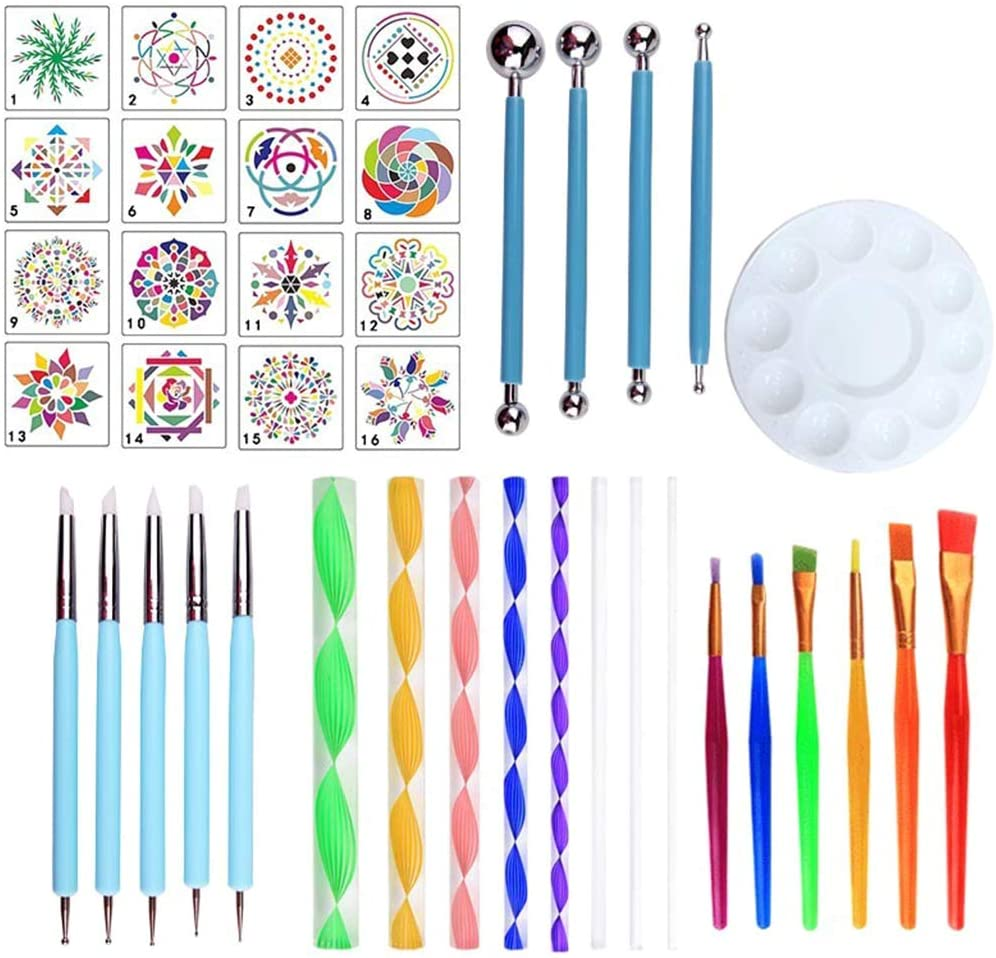 Wuliuen 40Pieces/Set Mandala Dotting Pen Tools Set for DIY Painting Rock Stone with Stencil C#
