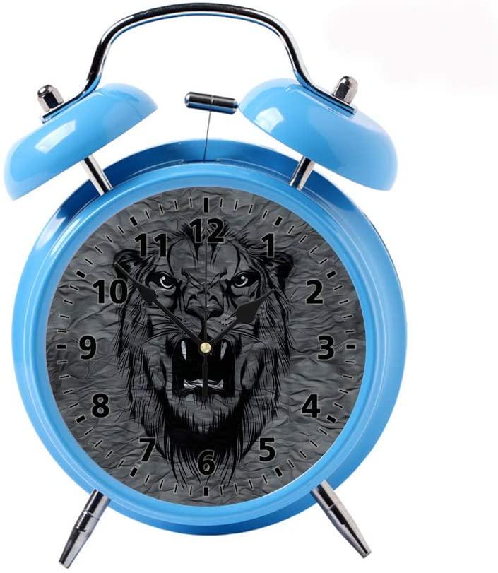 Childrens Desk Decor Decorative Alarm Clock Bedside Snooze Double Bell Silent Bedroom Quartz Round Digital Living Room Metal Blue Tiger Head on Abstract Grey Background