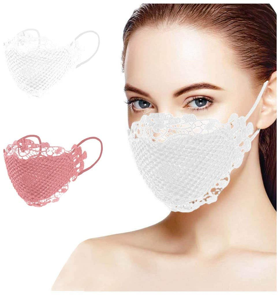 vividen Lace Mask for Women, Lace Wedding Party Decoration Face Mask Washable Reusable Breathable Anti Dust Full Face Protection Face Bandanas