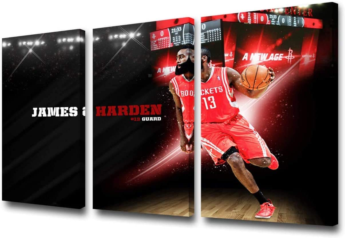 Oil Paintings Basketball Player Posters American Basketball Picture Decor Artwork Living Room Prints Poster Home Decoration Wall Printed on Canvas Wall Art Patrotic Sports(Frameless)28x14inch x3