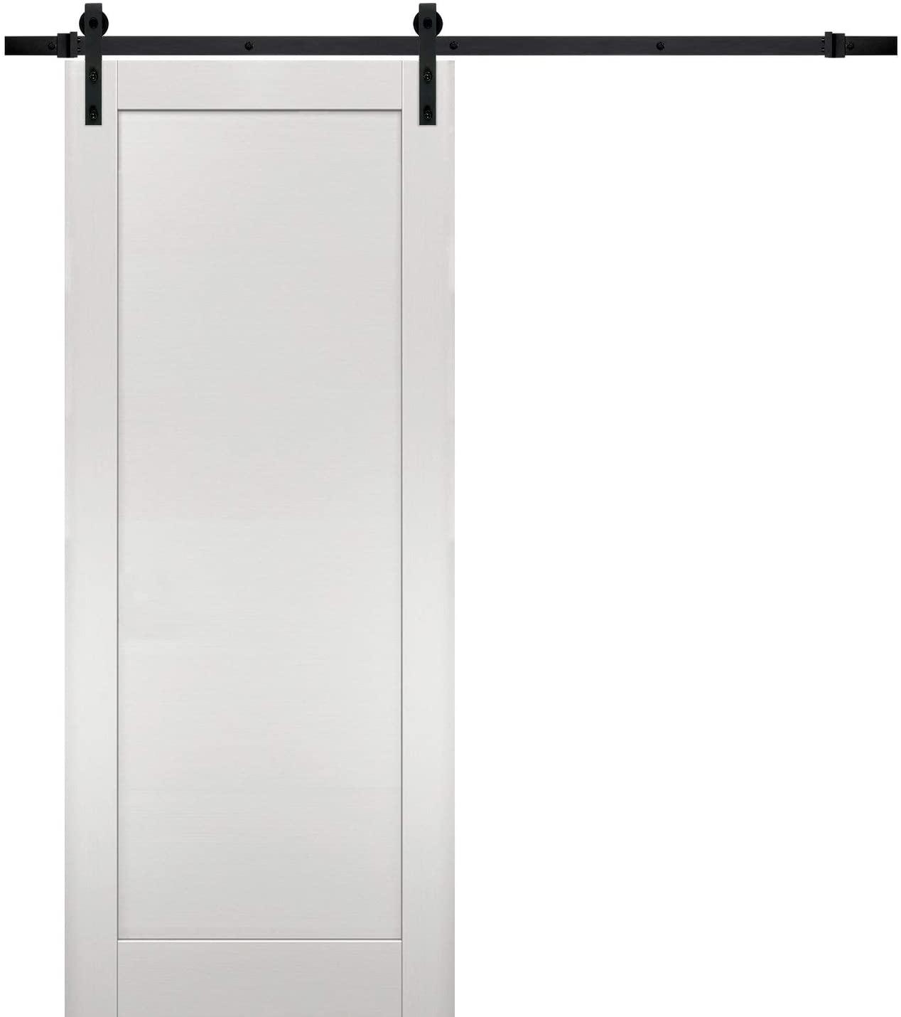 Sliding Barn Door 24 x 80 with Hardware   Quadro 4111 White Ash   Top Mount 6.6FT Rail Hangers Sturdy Set   Modern Solid Panel Interior Doors
