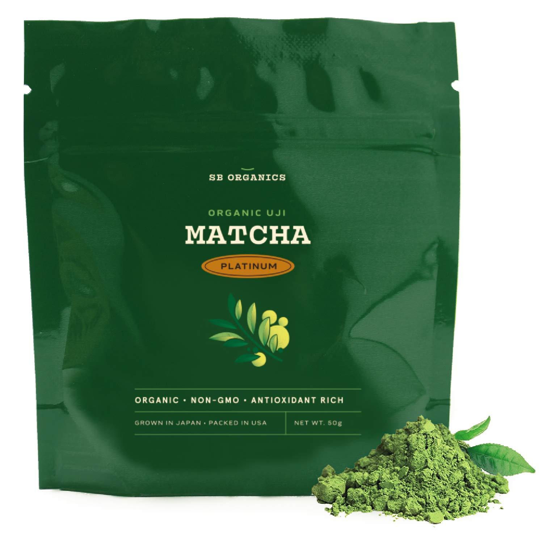SB Organics Platinum Premium Certified Organic Matcha Green Tea Powder – Premium Drinking Blend for Flavor – 50 Grams