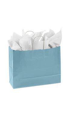 Large Powder Blue Paper Shopper (25 Bags/Case) - STOR-92183