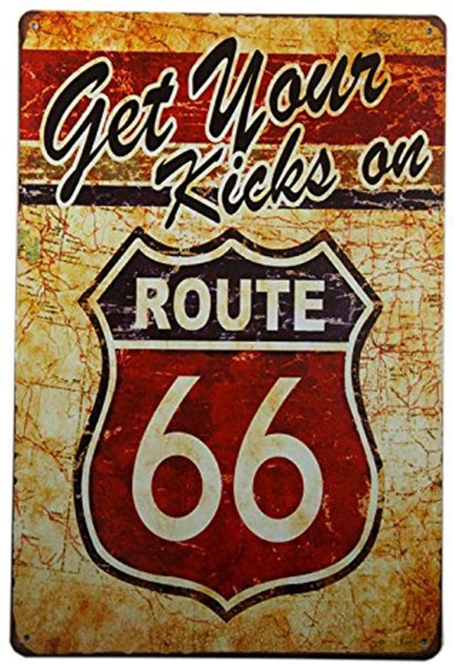 MAIYUAN Get Your Kicks on Route 66 Antique Motor Oil, Vintage, Metal, Tin Sign for The Garage 8x12 Inches(H8-B087)