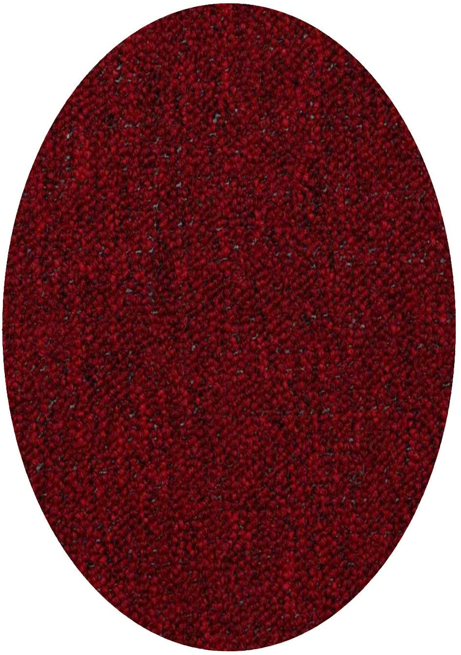 Home Queen IndoorOutdoor Commercial Red Color Area Rug - 1.5' x 2.25' Oval Mat