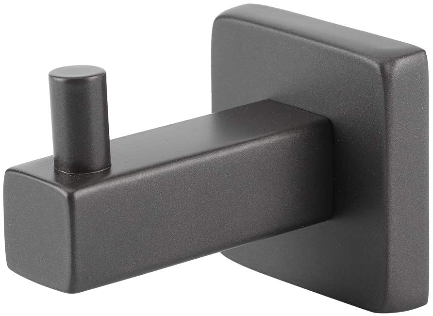 HERCHR Towel Hooks for Bathrooms, Stainless Steel Clothes Coat Hooks Cabinet Wall Hanger(Black)