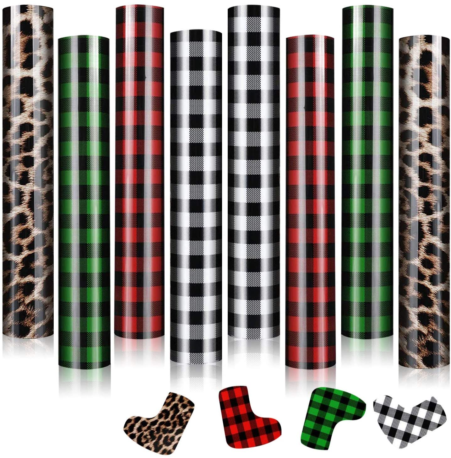 8 Sheets Christmas Buffalo Plaid Leopard Htv, Assorted Pattern Printed Htv Heat Transfer Vinyl, Iron On Transfers Vinyl for T-Shirts Fabric Craft (12 x 10 Inch, 4 Styles)