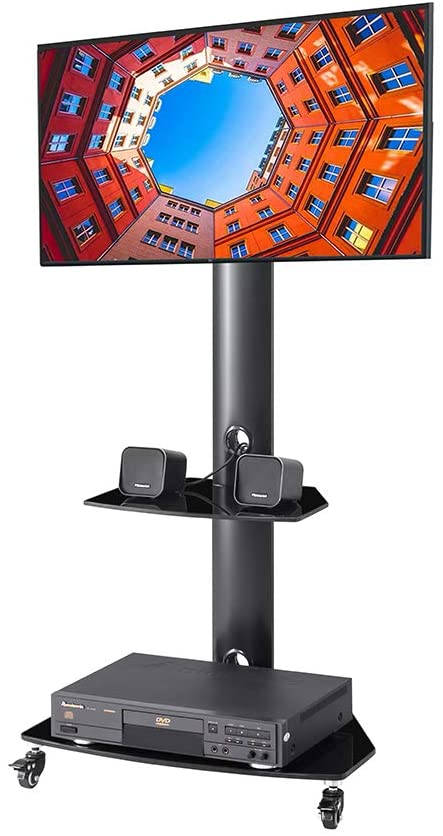GUOfeudallord Height and Angle Adjustable Multi-Function Tempered Glass Metal Frame Floor with Lockable Wheels Mobile TV Stand, LCD TV Bracket Plasma TV Bracket