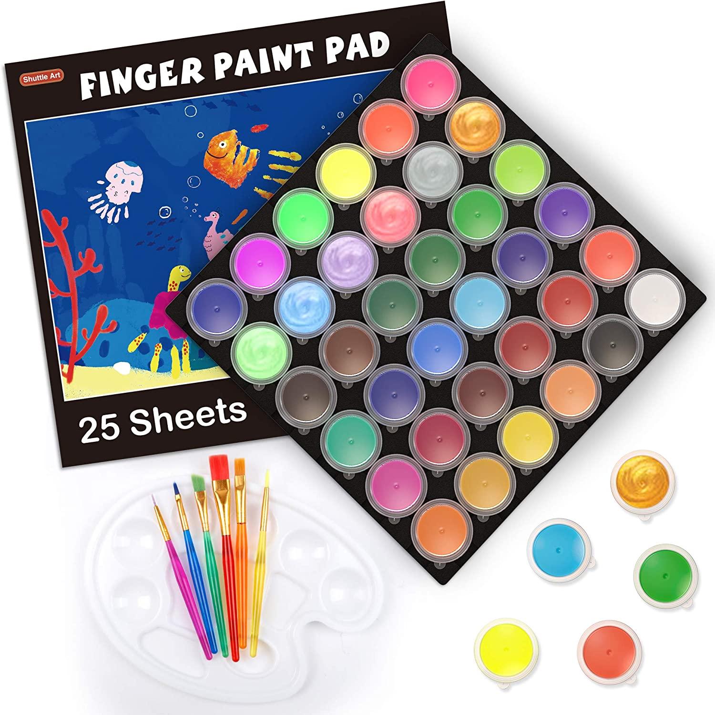 Shuttle Art Washable Finger Paint, 36 Colors Kids Paint Set with 36 Colors (30ml, 1oz) Finger Paints, Paint Brushes, Finger Paint Paper Pad, Palette, Non Toxic Toddler Paint for Kids Art & Craft