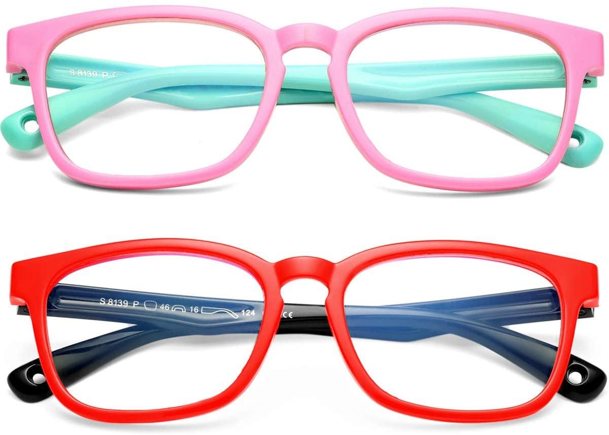 SCVGVER Kid Blue Light Blocking Glasses for Boys & Girls 2 Pack Computer Gaming TV Glasses Unbreakable Frame (Pink/Green+ Black/Red)