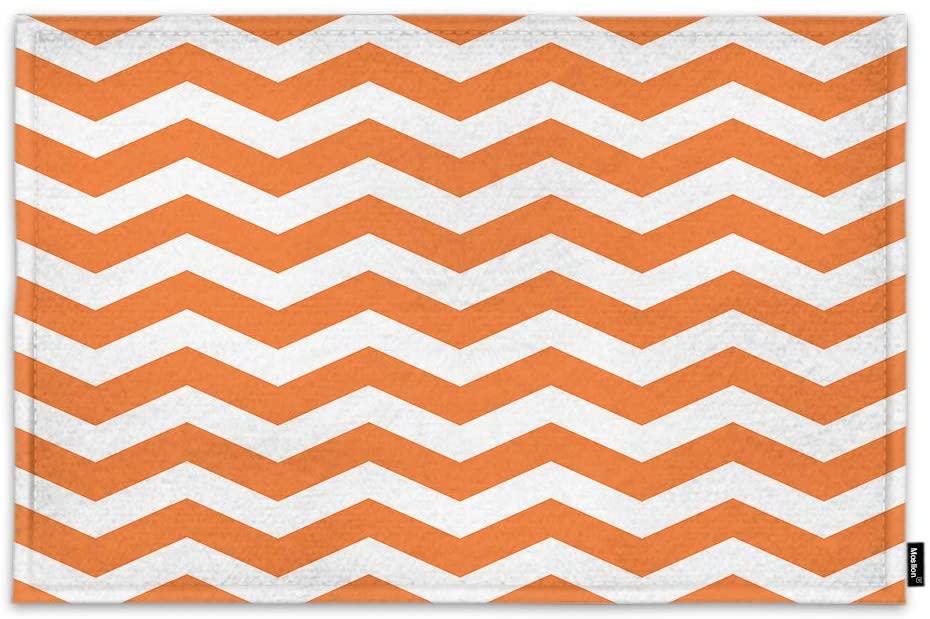 Moslion Geometric Chevron Door Mat Boho Hipster Chic Aztec Mexican Texture Zigzag Pattern Non Slip Funny Doormat for Outdoor Indoor Decor Entry Rug Kitchen Bedroom Mat 18 x 30 Inch