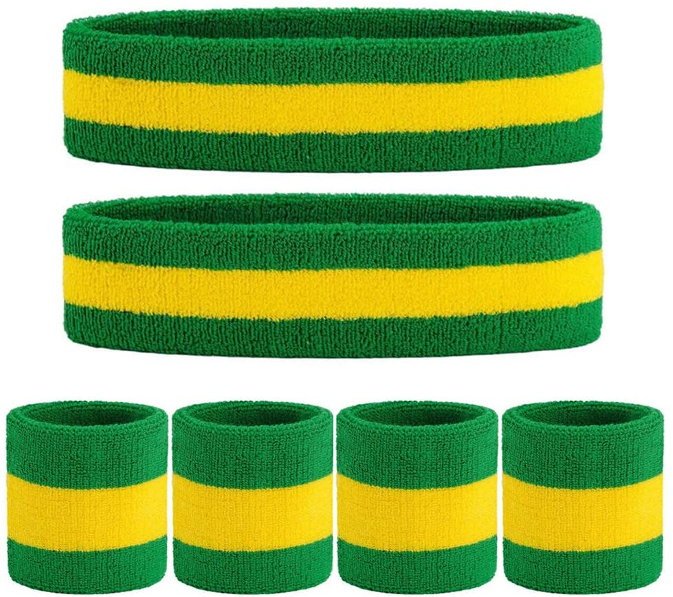 Headband Sweatband Wristband Set, Terry Cloth Wrist Moisture Wicking Sweat Absorbing Bands for Basketball Running Football Tennis Terry Cloth Athletic Sweatpants Outfits for Men Women Girls Boys-SYTMR