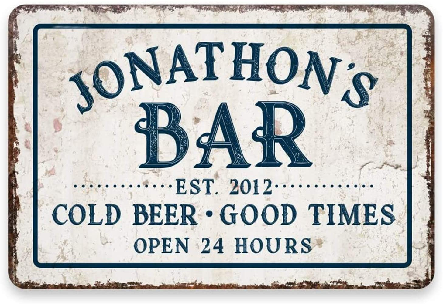 WEIMEILD Personalized Vintage Distressed Look Bar Cold Beer Good Times Metal Room Sign