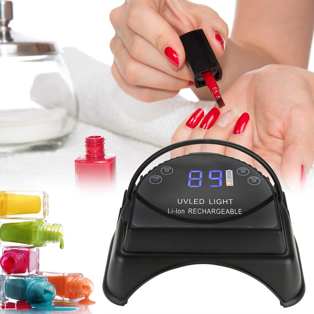64W Nail Polish Dryer, Cordless UV LED Nail Light Rechargeable Manicure Pedicure Nail Lamp for Salon Nail Polish with Lifting Handle Touch Sensor LCD Screen