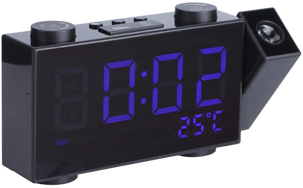 LED Digital Projection Alarm Clock USB Charging Table Clock can Charge Mobile Phones and Other Devices for Home Bedroom