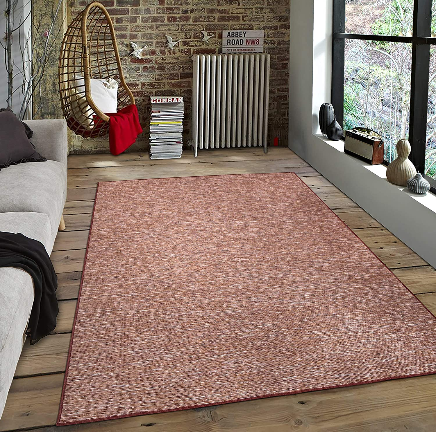 Sweethome Stores Reversible Indoor/Outdoor Area Rug, 5X7, Red