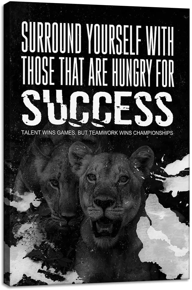 Yetaryy Entrepreneur Office Success Wall Art Inspirational Printing Painting Canvas Artwork Motivational Lion Picture Poster Home Wall Decor for Living Room Gym Bedroom - 12