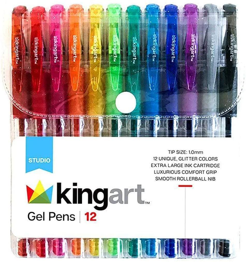 KingArt Studio Soft Grip Gel Pen Set, Set of 12, Assorted Glitter Colors