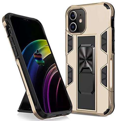 iPhone 11 Pro Max Phone case: Metal Ring Built-in Kickstand; Hands-Free Viewing in Portrait or Landscaping Mode (Gold)