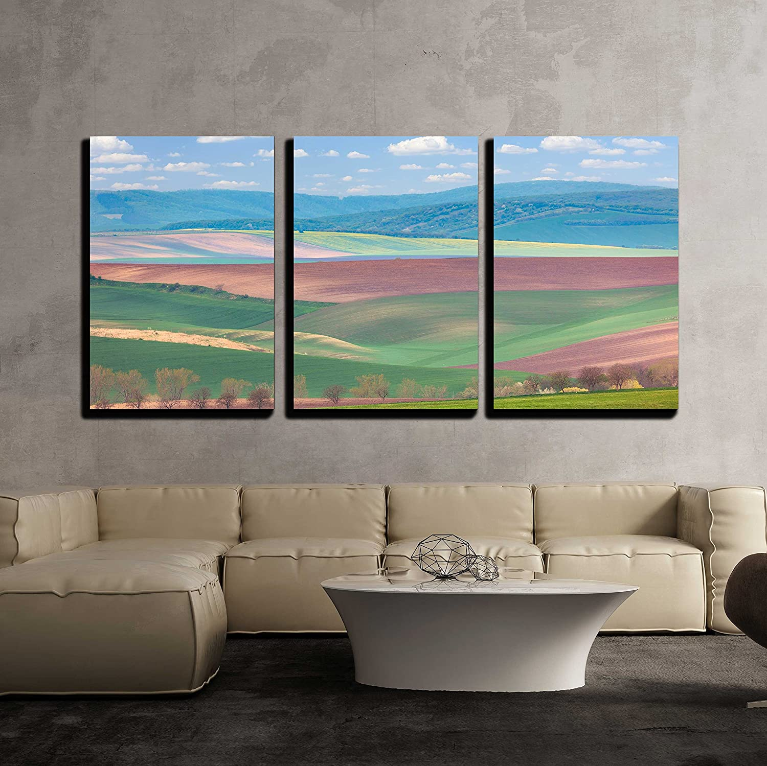 wall26 - 3 Piece Canvas Wall Art - Spring Landscape of Fields in Countryside of Hills - Modern Home Art Stretched and Framed Ready to Hang - 16x24x3 Panels
