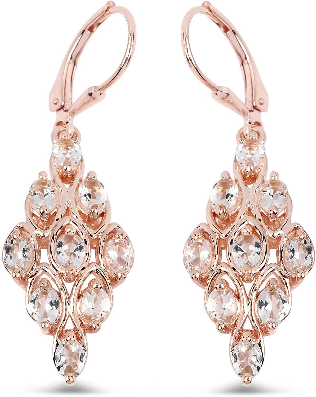 18K Rose Gold Plated 2.70 Carat Genuine Morganite .925 Sterling Silver Earrings