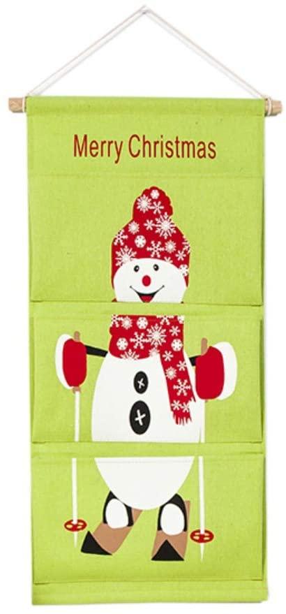 N/P Christmas Hanging Storage Bag Linen Cotton Fabric Wall Door Cloth Organizer Bag with 3 Pockets