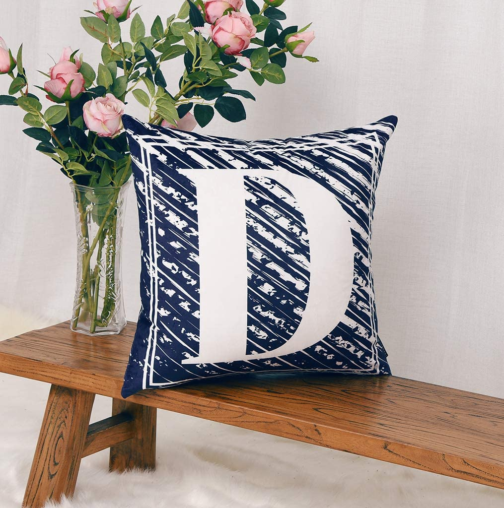 YINNAZI Throw Pillow Cover,18 x 18 Inch English Alphabet Pillow Case Navy Blue Square Cushion Covers for Sofa Courtyard Party Car Office Decorative (D-Navy Blue)