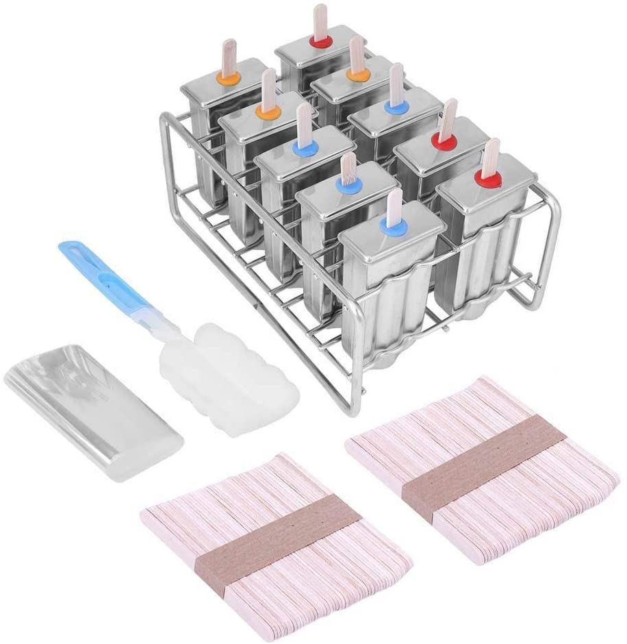 Popsicle Mould - Pop Mould 10 Molds Stainless Steel Ice Cream Pop Mould Lolly Popsicle and 100Pcs Stick Holder Round head