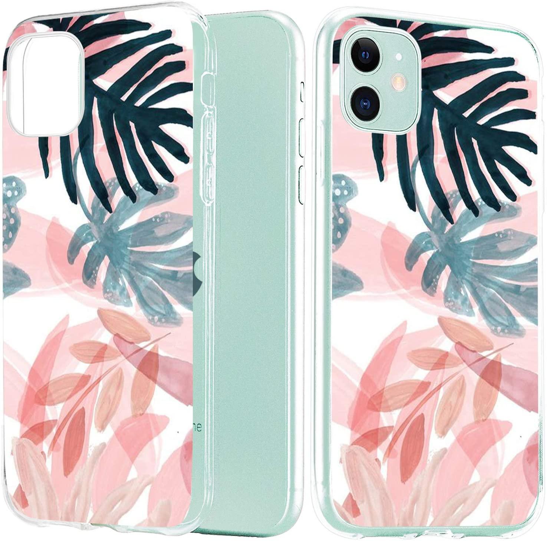 JOYLAND Clear Case for iPhone 7 Plus/8 Plus Case Tropical Plants Leaves Pattern Transparent TPU Phone Cover Flexible Soft Bumper Case for iPhone 7 Plus/8 Plus