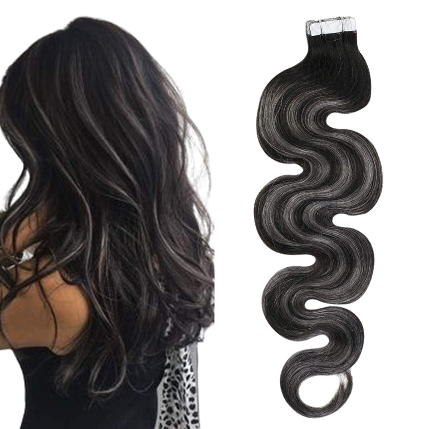 Ugeat Tape in Human Hair Extensions 12 Inch Body Wave Tape in Skin Weft Hair Extensions 20PCS 30Gram Balayage Tape in Extensions Real Remy Hair #1B Off Black Fading to Silver with #1B