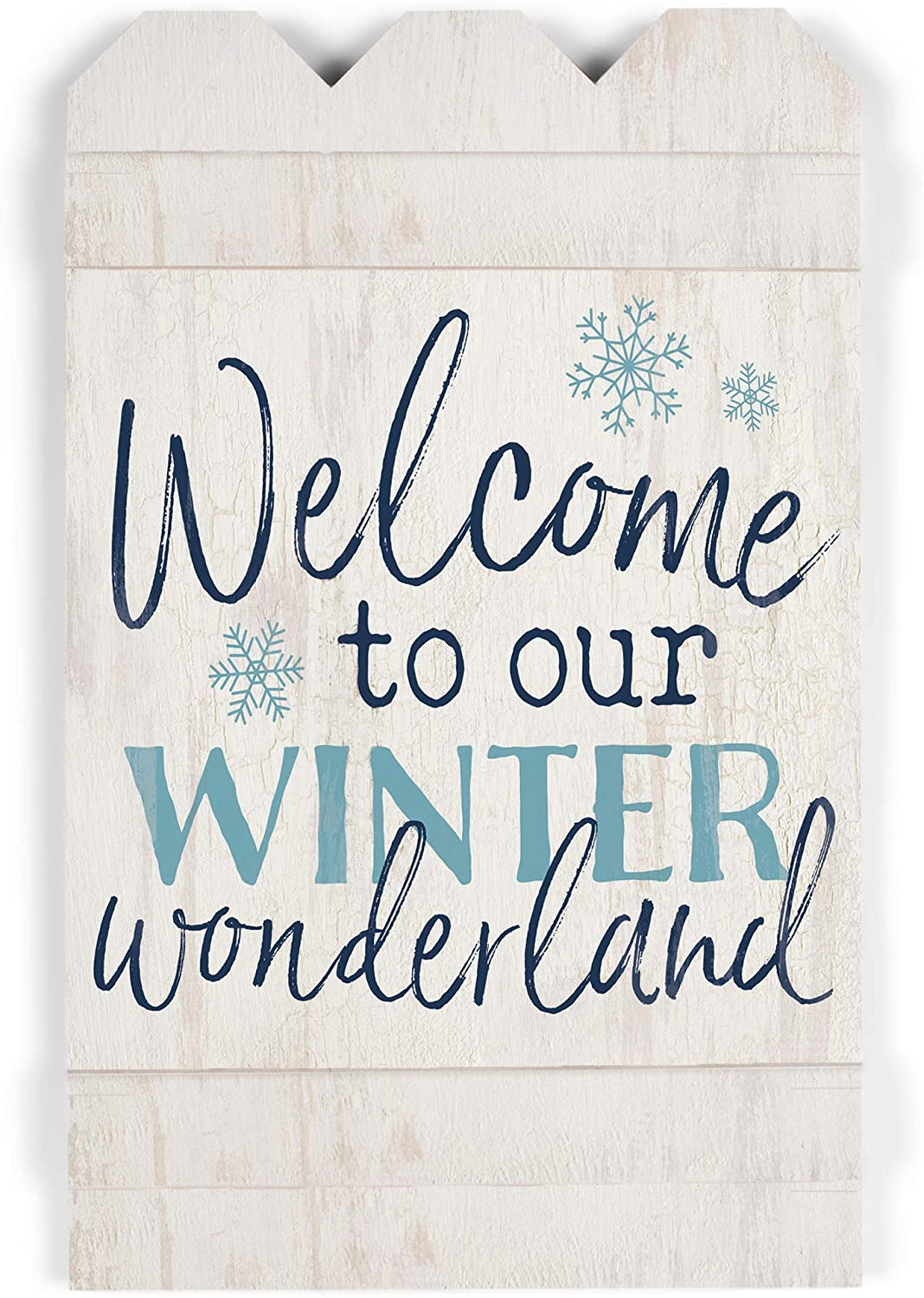 P. Graham Dunn Welcome to Our Winter Wonderland White 17 x 10.5 Wood Christmas Embellished Sign