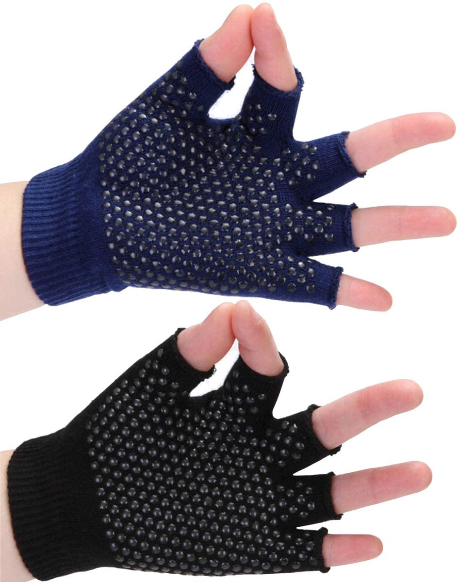 Yoga Gloves, Non-Slip Fingerless Breathable Workout Gloves One Size Fits All for Men and Women, Wear-Resistant Training Gloves for Yoga Pilates Fitness Exercise, 2 Pairs