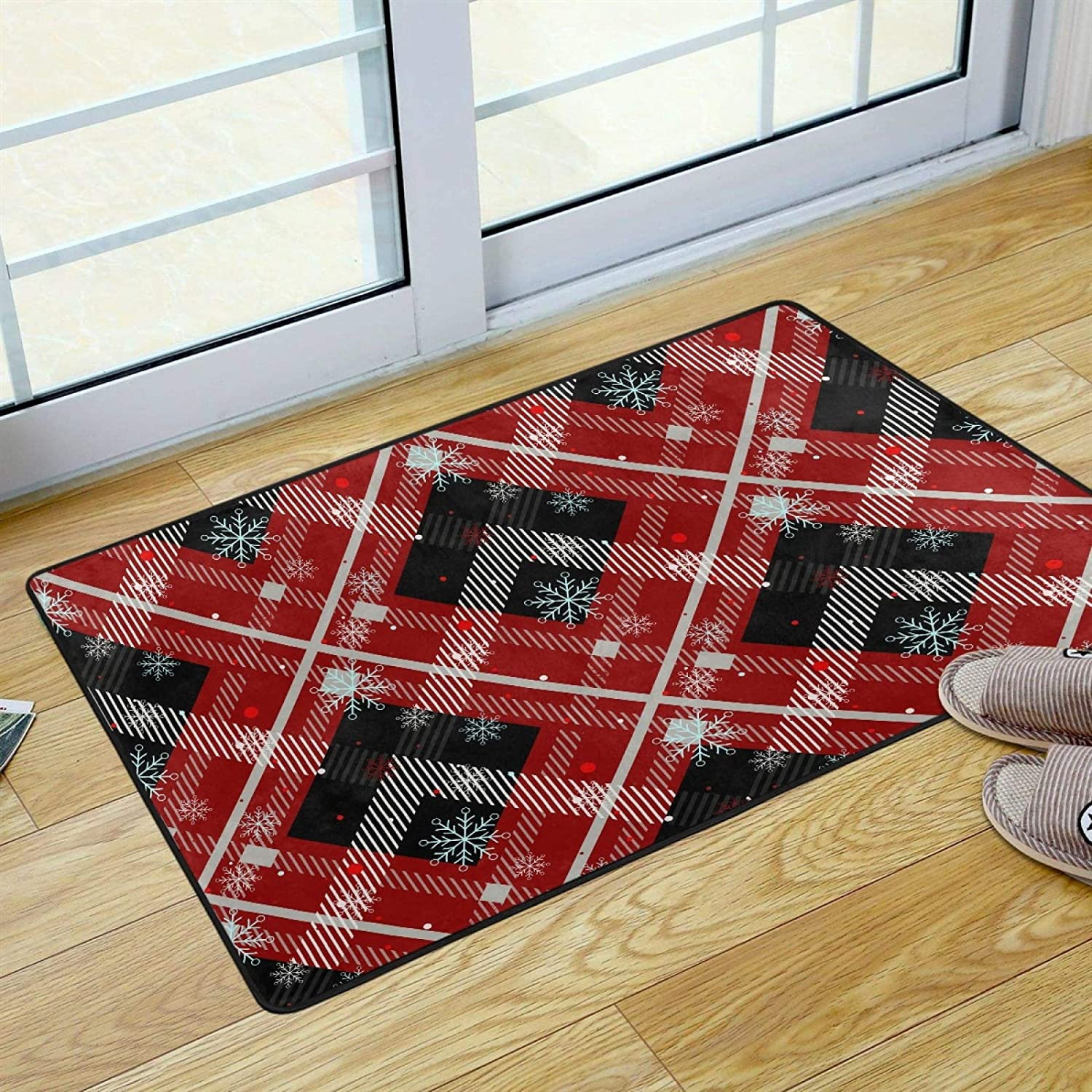 UMIRIKO Area Rug for Bathroom Merry Christmas Snowflake Red Black Buffalo Check Plaid Indoor Door Mat Washable Rug for Bedroom Kitchen Porch Laundry Living Room Carpet 36 x 24 in 2021053