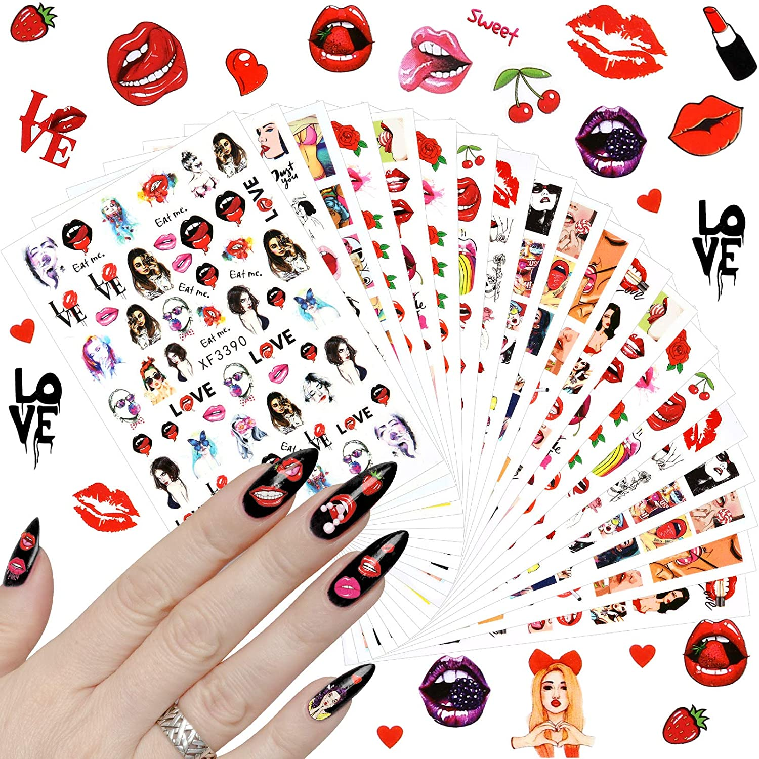 24 Sheets Lips Nail Art Stickers for Women Lips Cool Girls Nail Decals, Lips Beauty Different Patterns Decals Self-adhesive Nail Art Decals Stickers Girl Love Kiss Pattern Nail Art Supplies Decoration